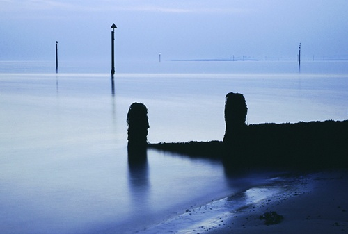 Groyne on Lepe Beach on a calm evening