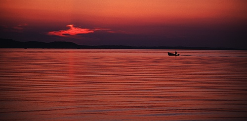 The Sea : Greek fishing boat at dusk